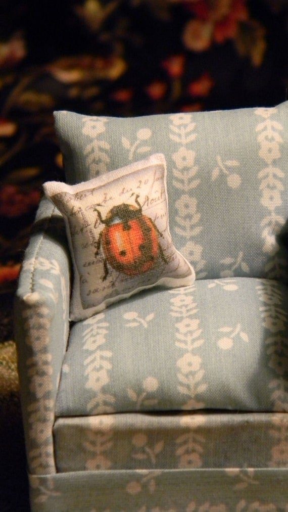 Dollhouse Lady Bug  Insect Pillow - Miniature Bug Pillow - LadyBug Doll House Pillow 1 12th Scale