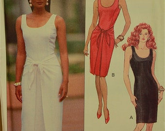 "Dress with Optional Overskirt-1990's-  Butterick Pattern 5448  Uncut   Size 14-16-18  Bust 36-38-40"""