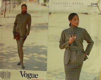 "Jacket & Skirt by Geoffrey Beene -1990's- Vogue Career Pattern 2540 Uncut   Sizes 6-8-10  Bust 30.5 -32.5"""