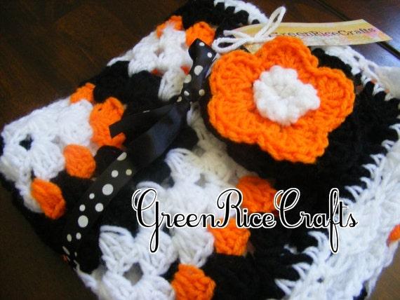Baby Blanket Black Orange and White