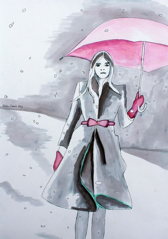 """Original Fashion Illustration entitled """"Burberry in the Snow"""", (Pen and Ink Drawing) by Helen Simms"""