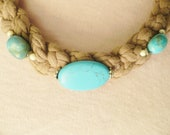 Ladies-teens braided Tshirt yarn choker with turquoise beads