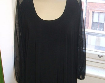 Baylis & Knight  Scoop Neck Long Sheer Sleeve  SMOCK Tunic Dress Black Elegant Adele 70's