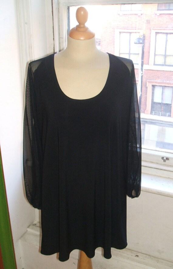 Baylis & Knight  Scoop Neck Long Sheer Sleeve  SMOCK Tunic Dress Black Elegant Adele 70's