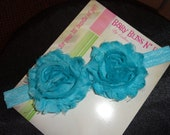 Turquoise Shabby Chic Headband for Baby / Chiffon Two Flower Headband / Photo Prop / Baby Shower/ Holiday and Christmas Gift