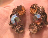 Vintage 1950's Crystal Earrings Amber Tawny Chunky Sparkly