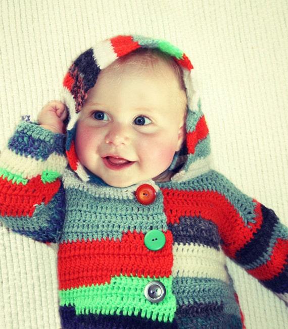 Crocheted hoodie vest / jacket baby boy or girl