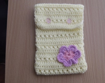 Yellow Crocheted Kindle Touch Cozy