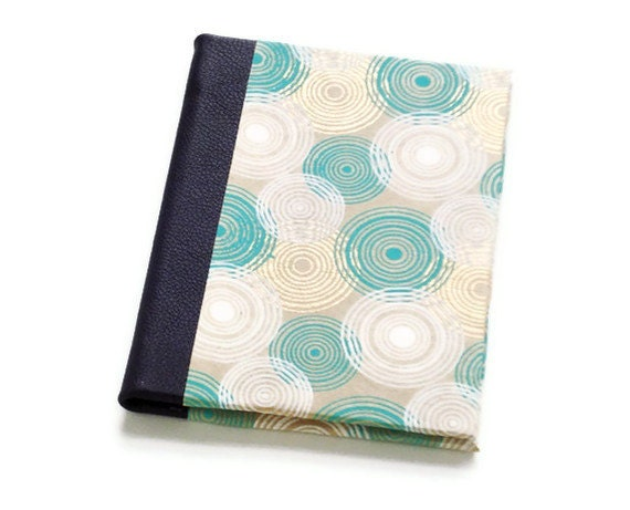 Quarter Leather Jotter - First Anniversary Paper Gift - Handbound Journal - Metallic Circles in Gold & Teal with Purple Leather