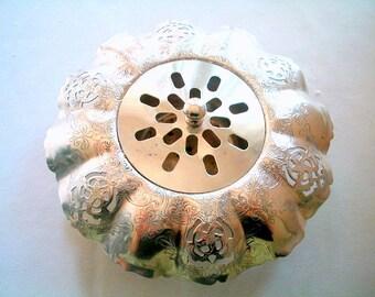 Silver Rose Bowl Flower Frog for Dining Table or Dresser Centrepiece Elegant Antique