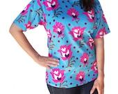 Sea Blue Womens Shirt Pink Flower Ladies Bold Print Medium