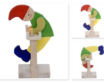 Handcrafted wooden Tumbler Toy (Clown) natural, organic wooden toys for kids