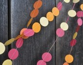 Colorful Paper Garland - Circles - Red Yellow Orange - Wedding Decoration - 10' long