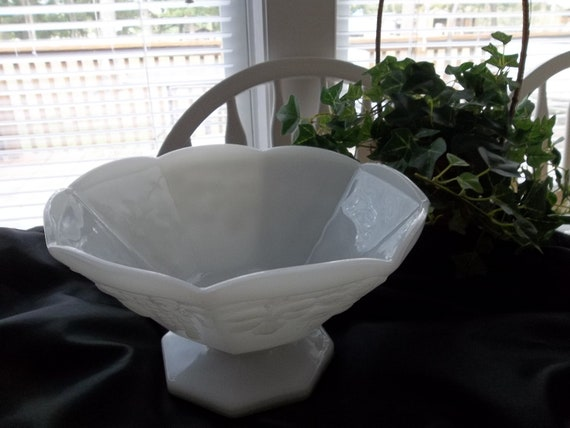 Paneled Grape Cluster And Grape Leaves  Octagon Shaped Milk Glass Footed Bowl