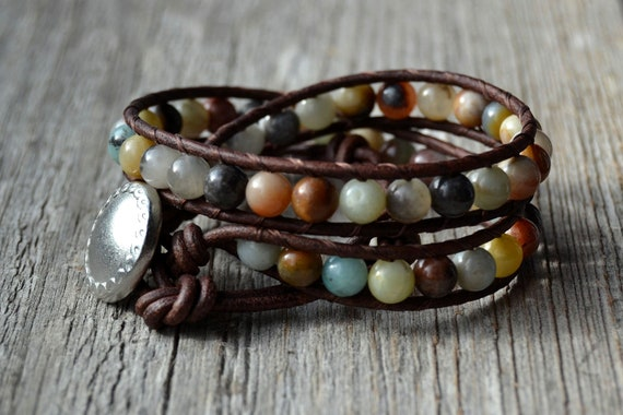Multi colored beaded leather wrap bracelet. Double wrap earthy bracelet. Gorgeous flower amazonite beads on brown leather