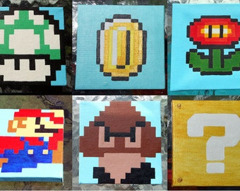 """2 Super Mario Paintings - 4""""x4"""" - Free Shipping - Mario, Question Block, Coin, 1-UP, Goomba"""