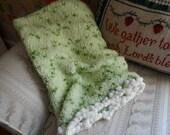 Cream Puffs and Greens...........Baby blanket, Soft, Warm, Flluffy green yarn, Ivory PomPom yarn as fringe, Warm, unisex