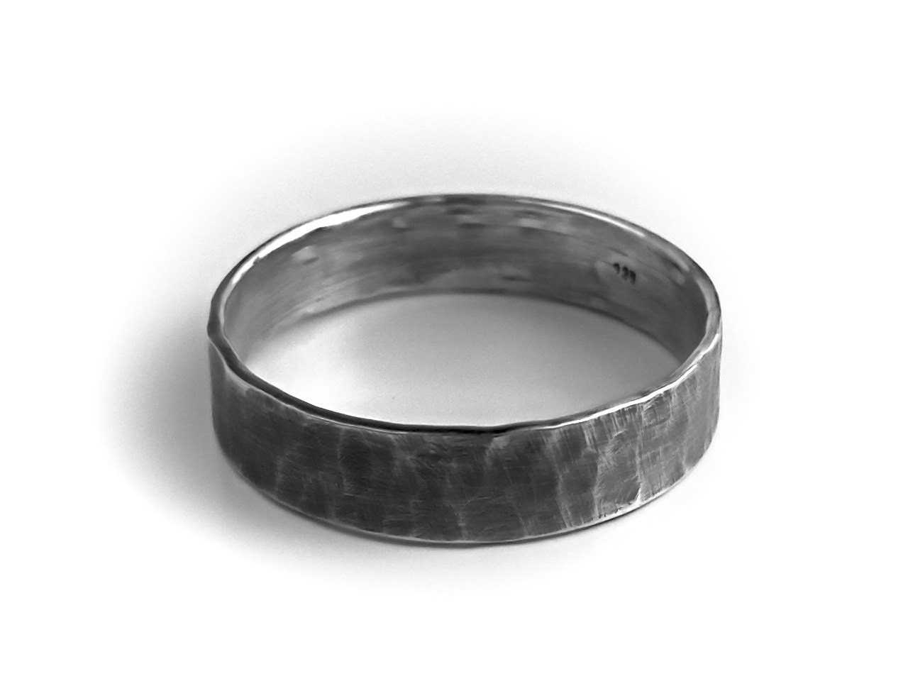 Mens Sterling Silver Ring Rustic Wedding Band Hammered