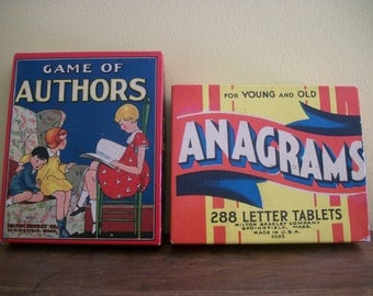 Two Games - Authors and Anagrams - Wonderful Boxes - Milton Bradley