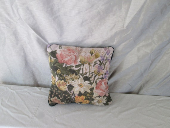 """Vintage Floral Needlepoint Pillow with Green Velveteen Backing New 14"""" x 14"""" Pillow Insert Included"""