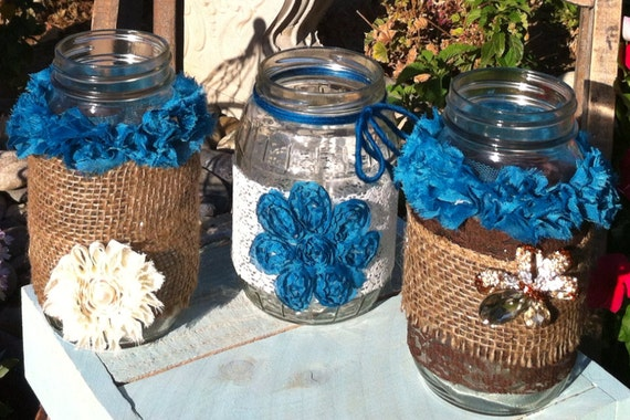 BURLAP LACE TURQUOISE Mason Jars for Wedding and Cottage Decor : Rustic Farm House and Shabby chic/Vintage style decorations