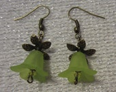 Lime Green Flower Earrings with Bronze Leaves and Earrings (Nickle Free)