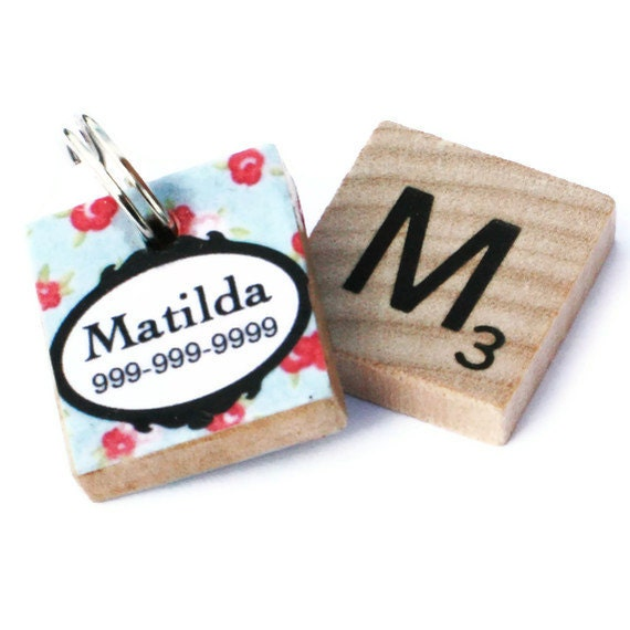 Red Rose Scrabble Pet ID Tag - DogTag - Unique Pet Tag - Girly Dog Tag - Cat Tag