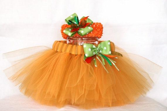 Pumpkin spice tutu skirt with matching headband/ Halloween/ Pumpkin/ Fall tutu/ Thanksgiving/ Autumn (size 3-9M)