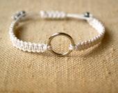 Wrap Macrame Shamballa white bracelet - Wedding Bridal style