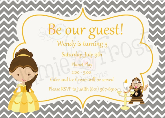 Items similar to Beauty and the Beast Invitation on Etsy