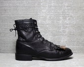 Vtg 80s Black Leather Lace Up Ariat Roper Riding Ankle Boots 8.5 9