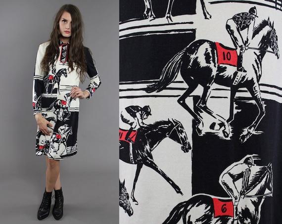 Vtg 60s Paganne Signed Novelty Racing Horses Dress S-M