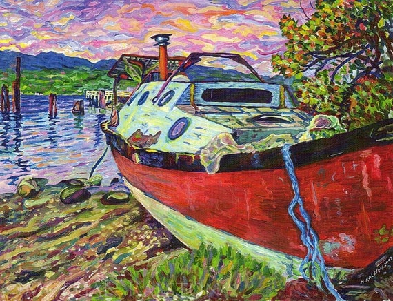 Giclee Canvas PRINT 8 x10  Claudes Boat - Denman Island - Signed Limited Edition Sunset Boat Beach Ocean Fine Art