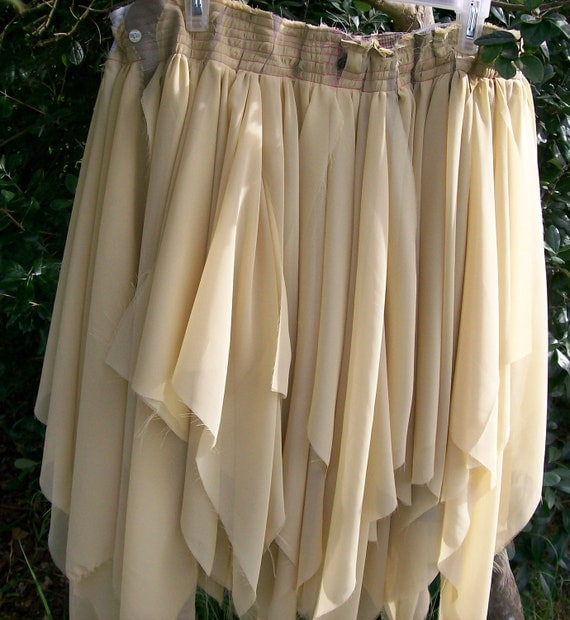 Large to Extra Large Plus Size ecru chiffon frayed tattered and raw Pixie Skirt