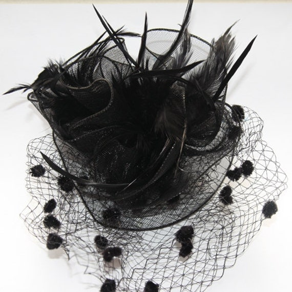 Black Fascinator with veil, accented with feather