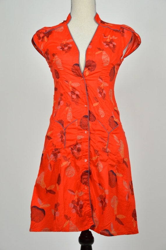 Lady in Red Late 1940s Inspired Vintage Summer Sundress With Organic Apples Grapes and Pears
