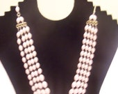 Lot of Two Vintage Necklaces  Acrylic Plastic Four Strand Pink Marked W. Germany  Blue Faceted  Single Strand Unmarked