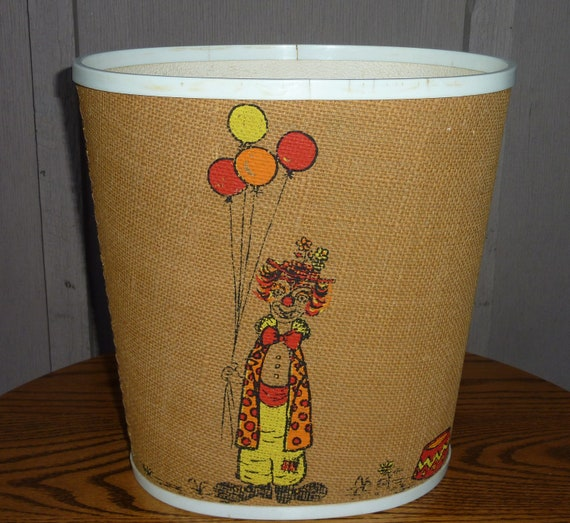 Vintage Burlap Tweed Trash Can With Two Sided Print Of