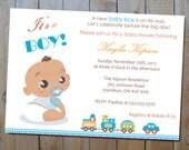 "Baby Shower Invitation - ""It's a Boy"" Blue Printable Baby Shower Invitation - African American Baby Boy"