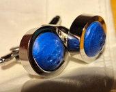 Blue Cufflinks - Recycled Wine Cork Cufflinks