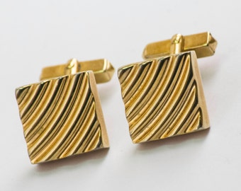 Vintage Cufflinks- Ribbed Square Front Classic Gold Toned Cuff Links by Swank 1950s Summer Formal Wedding For Him, For Dad, Hipster