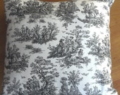 16 Inch Toile Pillow Cover: Black and White
