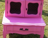Reserved for Shelby Beautiful French Provincial End Table Upscaled in a Poppin Pink and Black