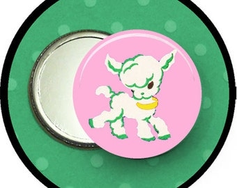 "My FAVORITE sheep 2.25 inch pocket MIRROR, button or magnet 2 1/4"" size"