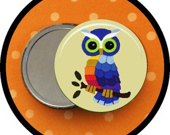 "stitched Owl 2.25 inch pocket MIRROR, button or magnet 2 1/4"" size"