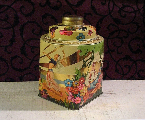 Unusual Vintage Tin with Belly Dancing and More - Middle Eastern Theme