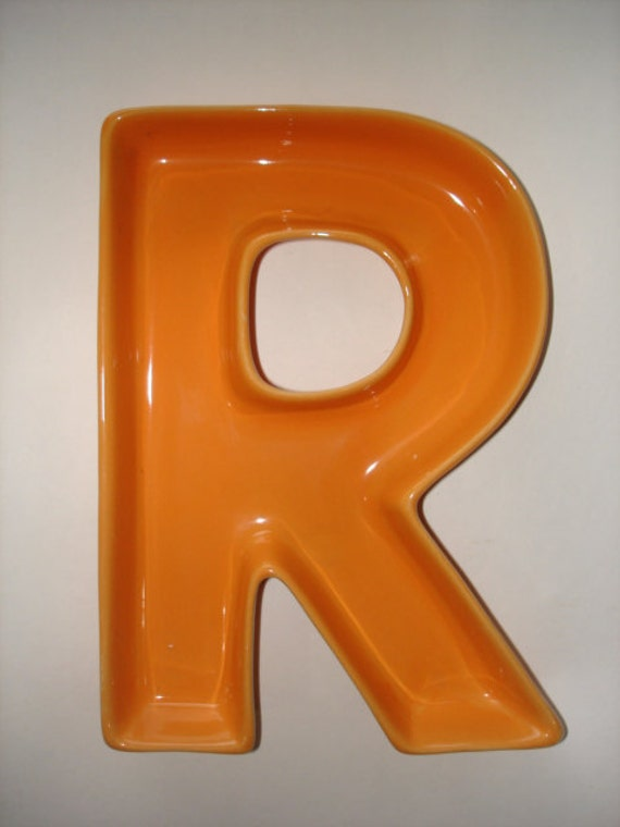 Orange Ceramic Letter R Dish Bowl Ashtray By Luckyhomefinds