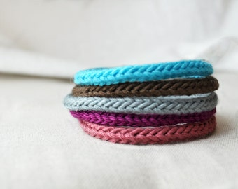 FREE SHIPPING, I-cord Bracelet Bangle, Multiple Colors, Blue, Pink, Purple, Grey, Brown, Simple, Staple, Basic, Cord, Icord, Soft