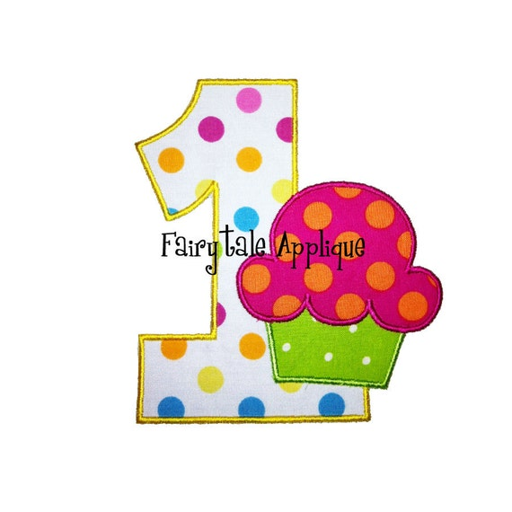 Digital Machine Embroidery Design - Applique Numbers (1-9) with a Cupcake