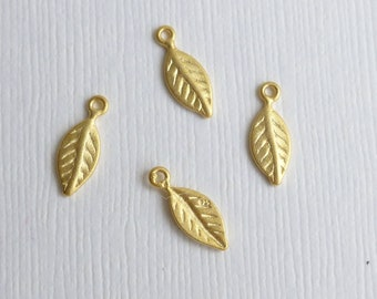 Gold Vermeil Sterling Silver Leaf Charms -- Four Pieces -- Gold Plated 925 Sterling Leaf Pendants